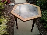 Glass Top table small, oak