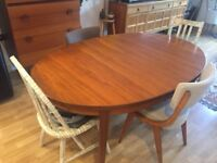 Mid Century Teak Danish Swedish Retro Vintage Style Oval Extending Dining Table