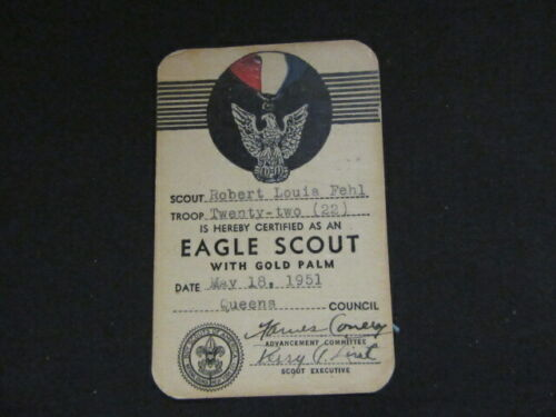 Eagle Scout with Palm Pocket Certificate 1951      npc1