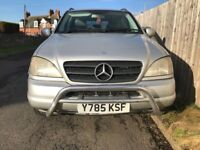 4X4 MERCEDES ML 270 2.7 TURBO DIESEL AUTOMATIC TWO TV AND DVD FULL YEAR MOT CHEAP P/EX WELCOME
