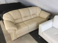 NEW Couch Set Creme Genuine Leather