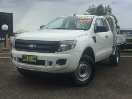 2013 Ford Ranger PX XL Super Cab White 6 Speed Manual Cab Chassis Hillvue Tamworth City Preview