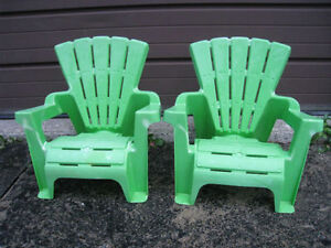 2 Small Green Plastic Outdoor Children Chairs for 2-4 year old