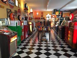 Achète  recherche pancarte jukebox pompe a essence coke pepsi