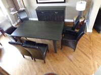 SOLID WOOD DINING TABLE, BUFFET AND 6 CHAIRS