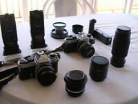NIKON FM2 & FE 35 MM SLR CAMERA EQUIPMENT