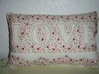 NEW SHABBY CHIC CUSHION PINK / CREAM FLORAL BACKGROUND,LOVE EMBOSSED ACROSS THE CUSHION
