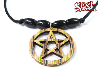 RECYCLED SKATEBOARD Wooden Pentacle Necklace Pentagram Spiritual Protection
