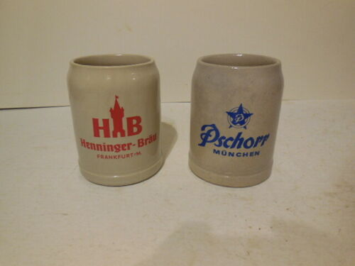 2 VINTAGE WEST GERMANY Ceramic Stoneware BEER MUGS - .5 L - free shipping