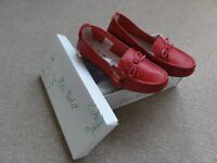 Brand New Pili Pala Ladies flat red leather shoes Size 3 Euro 36