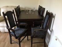 Olde Court Solid Oak Extendable Dining Table and 6 chairs (inc 2 carvers)