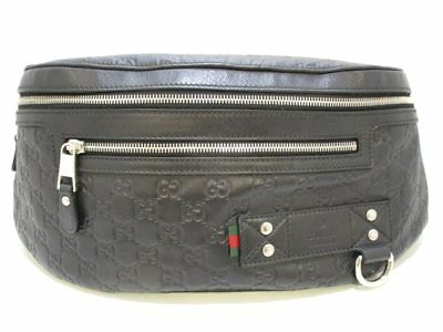 Auth GUCCI Guccissima 246409 Black Leather(Rubbercoating) Waist Bag