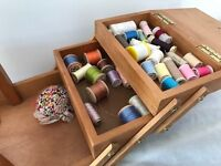 Wooden Sewing Box - Nearly 50 Sewing Threads Included!