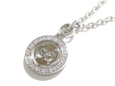Authentic GUCCI 18K White Gold Diamond Icon Twirl Necklace