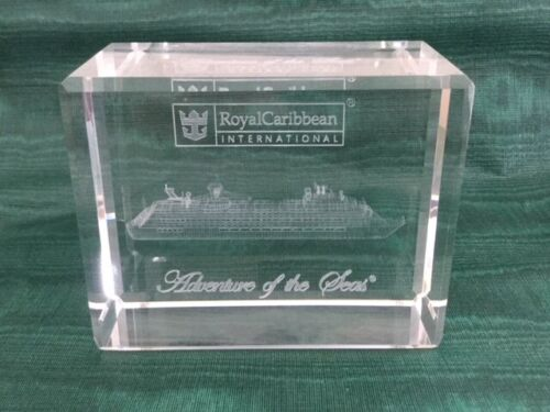 ADVENTURE OF THE SEAS CRYSTAL GLASS PAPERWEIGHT ROYAL CARIBBEAN