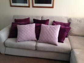 NEXT Soft Furnishings - Cushions, Roman Blind, 2 x framed pics - PLUM in colour