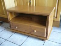 solid pine wood unit with drawer & shelf used as TV stand / table - southbourne
