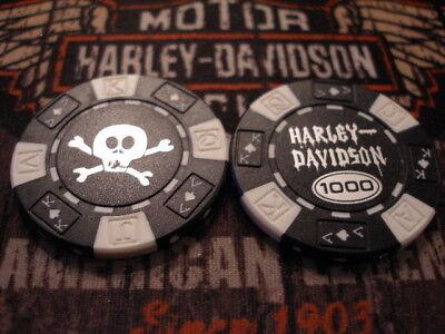 Harley Black & White Skull Poker Chip Harley Davidson
