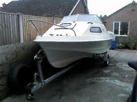 Shetland 535 sheltie 18ft GRP boat and trailer.
