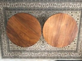 Oak round tables for tea or side Two