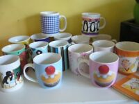 16 tea / coffee mugs cups new and used one with matching china coaster southbourne