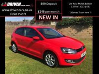 VOLKSWAGEN POLO 1.2 MATCH EDITION 3d 59 BHP 1 owner from new (red) 2013