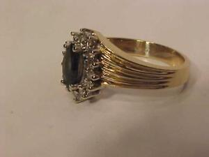#3444-14K YELLOW /WHITE Gold SAPPHIRE /DIAMOND(14)LADIES DRESS RING-APPRAISED $1,850.00 SELL $449.00 FREE S/H IN CANADA