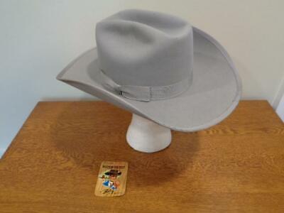1950s Mens Hats | 50s Vintage Men's Hats Vtg 1950's Genuine B-Bar-B Bailey Gray Western 3X Imperial Felt Cowboy 6 7/8 Hat $99.99 AT vintagedancer.com