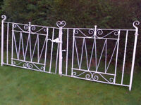 Beautiful vintage Victorian scroll-design wrought iron gates treated in lead-no corrosion