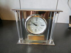 Bulova Pearl Quartz Silver Tone Metallic/Glass Mantel Clock B2454 Be Smart