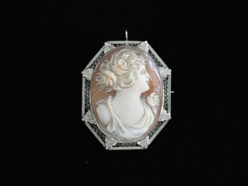 Antique 14KT White Gold Finely Carved Coral Cameo Brooch Pin