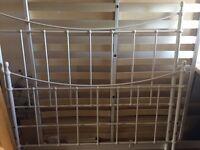 Cream metal frame bed