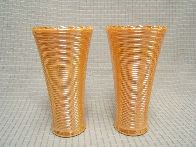 """Lusterware Peach Carnival Glass Lot of 2 Vases 7-1/4"""" tall Rope Design GUC"""