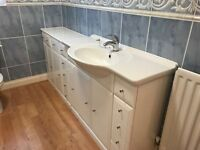 Gloss White Bathroom - Porclain Sink/Taps/Drawer/Cupboard Units