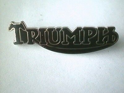 MOTORCYCLE PIN BADGE 'TRIUMPH SCRIPT' BLACK MOTORBIKE LAPEL BADGE - BG47