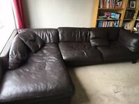 DFS dark brown corner leather sofa