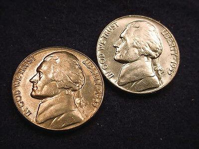 1955 & 1955-D JEFFERSON NICKELS 2 GEM BU COINS!!!  #72**