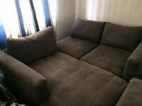 BARKER AND STONEHOUSE L SHAPED SOFA WITH FOOTSTOOL