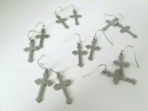 Stainless Steel Wholesale Lot 6 pairs Cross Earrings Hook Dangle New USA Seller
