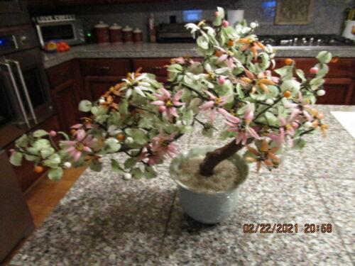 Vintage Bonsai Glass Cherry Blossom Flower Asian Mineral Stone Jade Tree