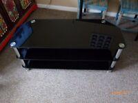 BLACK LARGE TV TABLE FOR BIG TV SIZE 115CM LONG X 45CM WIDE X 50CM HIGH
