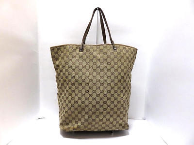 Auth GUCCI GG 31242 Beige DarkBrown Jacquard & Leather Tote Bag