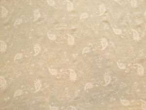 EMBROIDERED PAISLEY COTTON VOILE BEIGE CURTAIN DRESSMAKING CRAFT FABRIC C6547