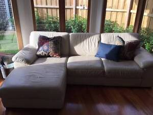 Chaise Leather Lounge and Ottoman Burwood Whitehorse Area Preview