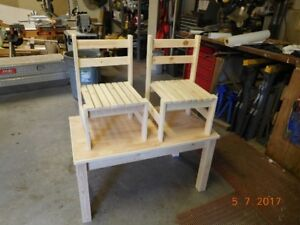 Handmade - Childs table and chairs - unfinished