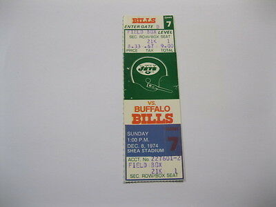 Dec 8, 1974 New York Jets vs Buffalo Bills Ticket 2