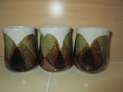 Set of 3 Stoneware Pottery Hand Painted Saki Chinese Tea Style Cups