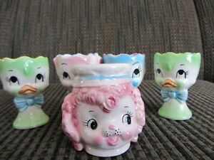 Five Vintage Animal Face Egg Cups