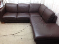 very good condition brown leather corner sofa