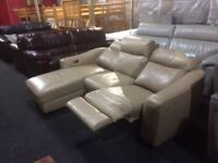 LEATHER POWER RECLINER CORNER LOUNGER SOFA